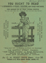 Advertisement for CH Ross's Variety Paper, comic, reverse of leaflet